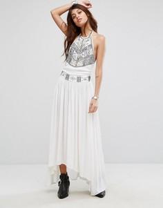 Длинное платье халтер с вышивкой Raga - Кремовый