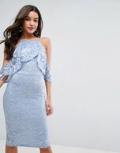 Кружевное облегающее платье миди с запахом и оборками ASOS - Синий