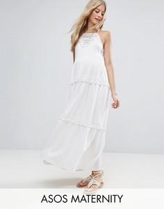 Платье макси с кружевной вставкой и помпонами ASOS Maternity - Белый