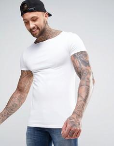Белая обтягивающая футболка с вырезом лодочкой ASOS - Белый