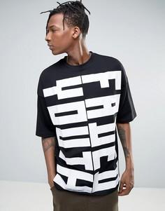 Oversize-футболка с выцветшим принтом Youth и рукавами до локтя ASOS - Черный