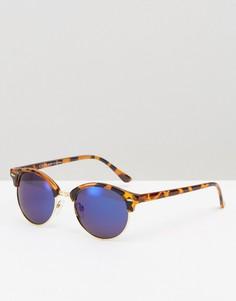 Круглые солнцезащитные очки с поляризованными зеркальными стеклами ASOS - Коричневый