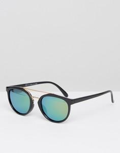 Круглые солнцезащитные очки с блестящими поляризованными стеклами ASOS - Черный
