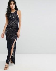 Кружевное платье макси для вечеринок Free People - Темно-синий