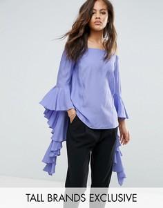 Топ с длинными рукавами и оборками Y.A.S Studio Tall Anru - Фиолетовый