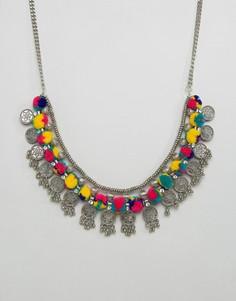 Эффектное ожерелье с помпонами Pieces - Мульти