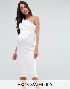 Платье-бандо миди с отделкой из органзы ASOS Maternity - Белый