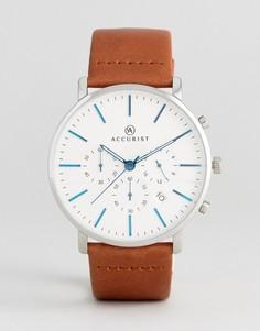 Часы с хронографом и коричневым кожаным ремешком Accurist - Рыжий