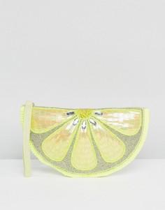 Декорированный клатч на молнии New Look - Желтый