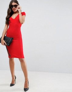 61ff71b9c04 Облегающее структурированное платье миди в рубчик с V-образным вырезом ASOS  - Красный