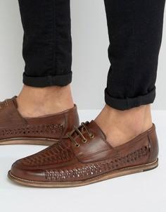 Коричневые плетеные туфли на шнуровке Silver Street - Коричневый