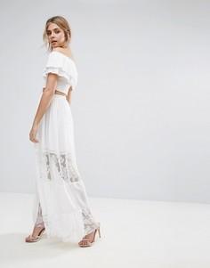 Шифроновая юбка макси с кружевными вставками Boohoo - Белый
