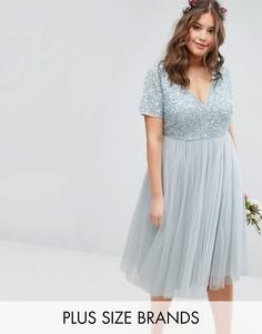 Платье миди с отстегивающейся тюлевой юбкой и пайетками Lovedrobe - Синий