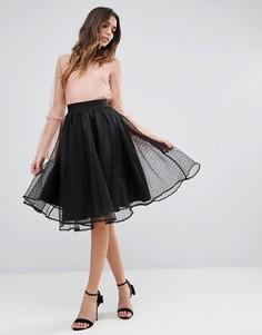 Короткая расклешенная юбка из тюля New Look - Черный