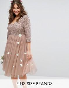 Платье миди с рукавами 3/4, V-образным вырезом и отделкой пайетками Lovedrobe Luxe - Розовый