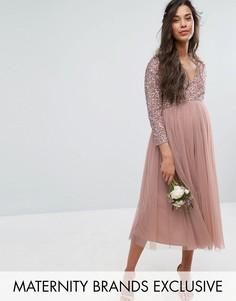 Платье миди с рукавами 3/4, отделкой пайетками и юбкой из тюля Maya Maternity - Розовый