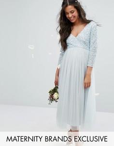 Платье миди с рукавами 3/4, отделкой пайетками и юбкой из тюля Maya Maternity - Синий