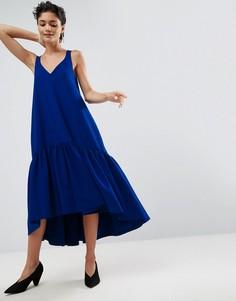 Платье миди с баской ASOS WHITE - Синий