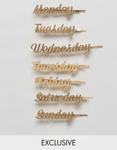 Заколки для волос с названиями дней недели Orelia - Золотой