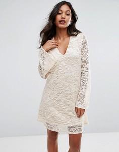 Цельнокройное платье с рукавами-клеш Ax Paris - Кремовый