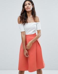 Кремовое короткое приталенное платье 2 в 1 Ax Paris - Мульти