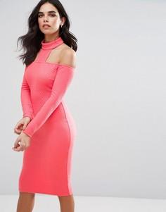 Платье миди в рубчик с длинными рукавами и чокером Ax Paris - Розовый