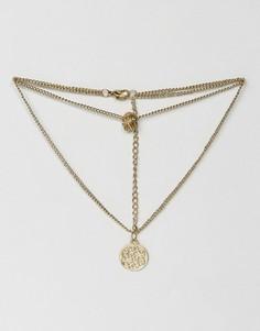 Ожерелье в несколько рядов с филигранными дисками и подвесками ASOS - Золотой