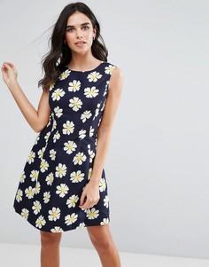 Короткое приталенное платье с цветочным принтом Ax Paris - Темно-синий