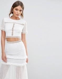 Короткая кружевная блузка True Decadence - Белый