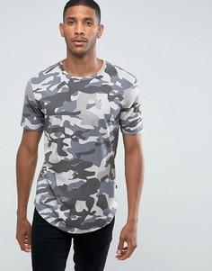 Длинная футболка с камуфляжным принтом Only & Sons - Темно-синий