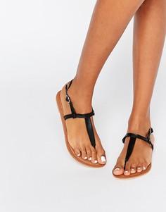 Кожаные сандалии с перемычкой между пальцами Boohoo - Черный
