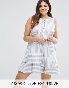 Свободное платье в полоску с рюшами и завязкой ASOS CURVE - Мульти