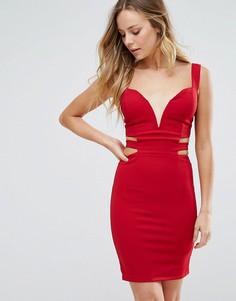 Облегающее платье с глубоким декольте Wal G - Красный