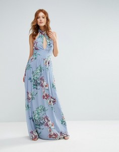 Платье макси с цветочным принтом и высоким воротом City Goddess - Синий