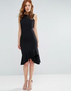 Платье-футляр с баской по краю и контрастным поясом City Goddess - Черный