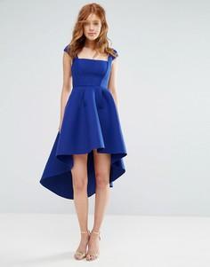 Короткое фактурное приталенное платье с асимметричным краем City Goddess - Синий