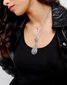 Многоярусное ожерелье-чокер с подвесками ASOS - Серебряный