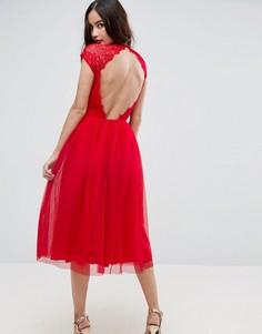 Платье миди для выпускного из кружевного тюля ASOS PREMIUM - Красный