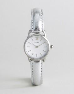 Часы с серебристым корпусом и кожаным ремешком CLUSE Vedette - Серебряный