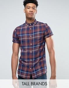 Рубашка в клетку с короткими рукавами Burton Menswear TALL - Темно-синий