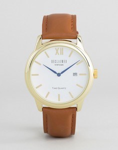 Золотистые часы с коричневым кожаным ремешком Reclaimed Vintage Inspired - Коричневый