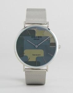 Часы с сетчатым ремешком и серебристым корпусом Reclaimed Vintage - Серебряный