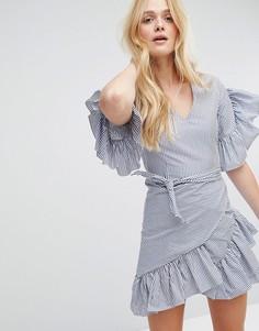 Полосатое платье с оборками и поясом Aeryne - Темно-синий