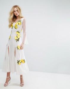 Сетчатое платье макси с рукавами-колокол и вышивкой Aeryne - Белый