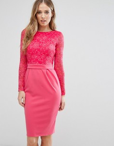 Платье-футляр средней длины с длинными рукавами и кружевом City Goddess - Розовый