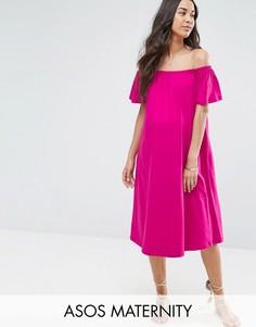 Платье миди с открытыми плечами ASOS Maternity - Розовый