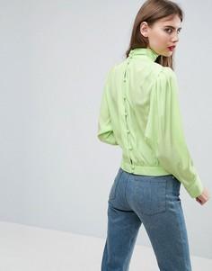 Блузка с длинными рукавами и пуговицами на спине ASOS - Зеленый