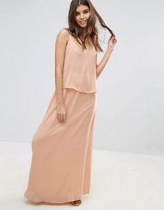Платье макси с перекрестной отделкой на спине Vila - Розовый