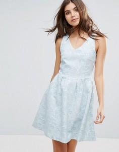 Фактурное приталенное платье Vila - Синий