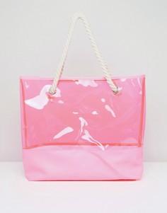 Розовая прозрачная пляжная сумка из ПВХ South Beach - Розовый